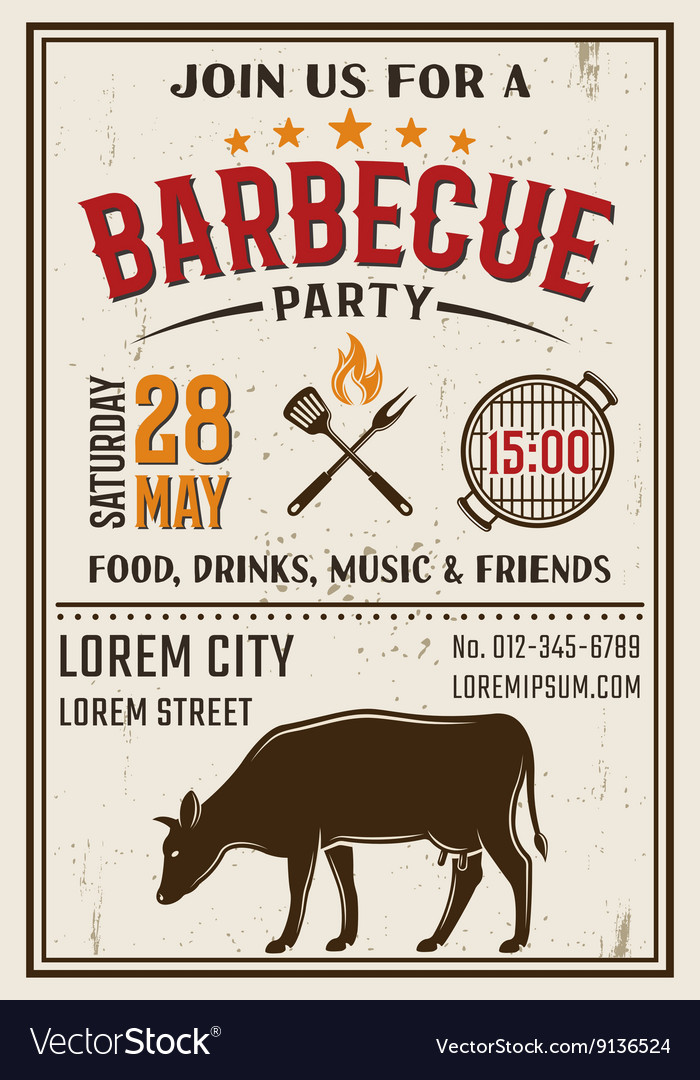 Barbecue Party Retro Style Poster vector image