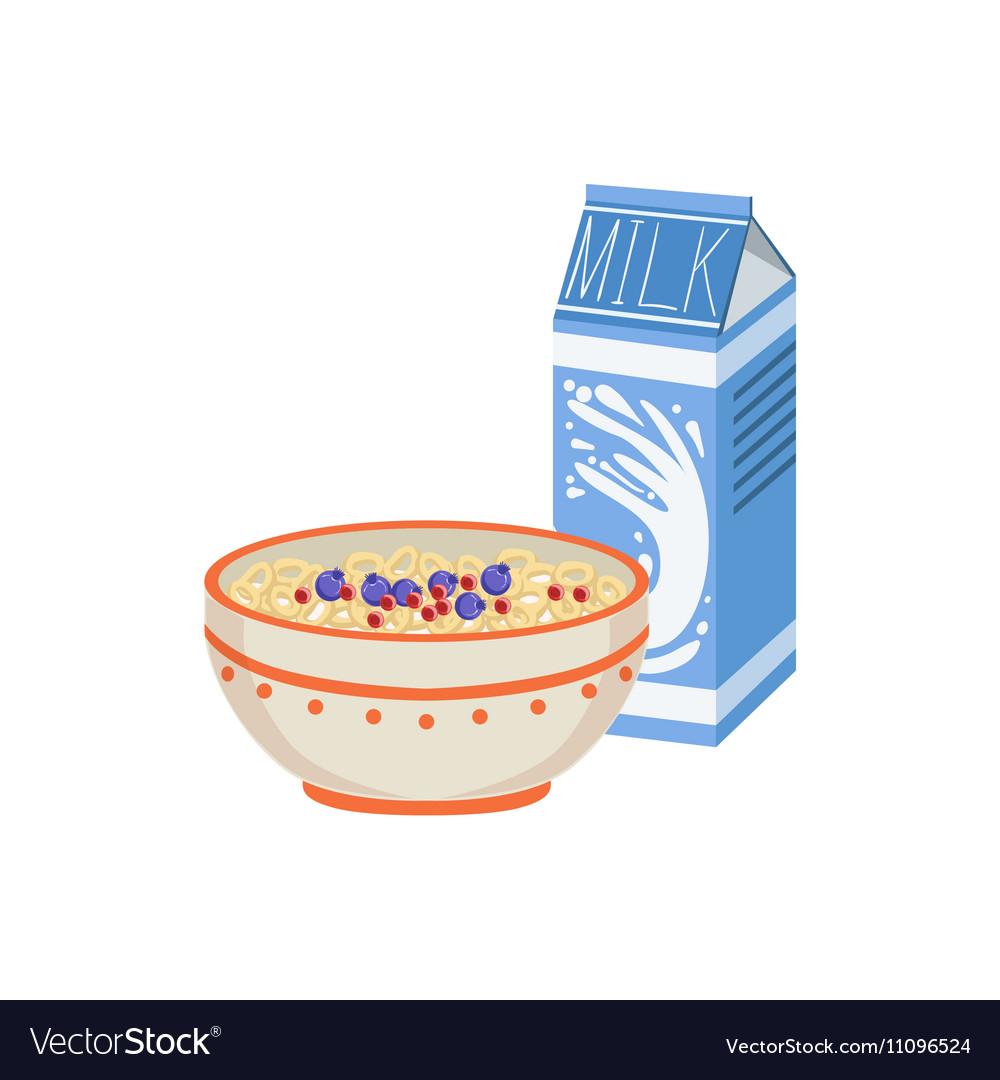Milk And Porridge Breakfast Food Drink Set vector image