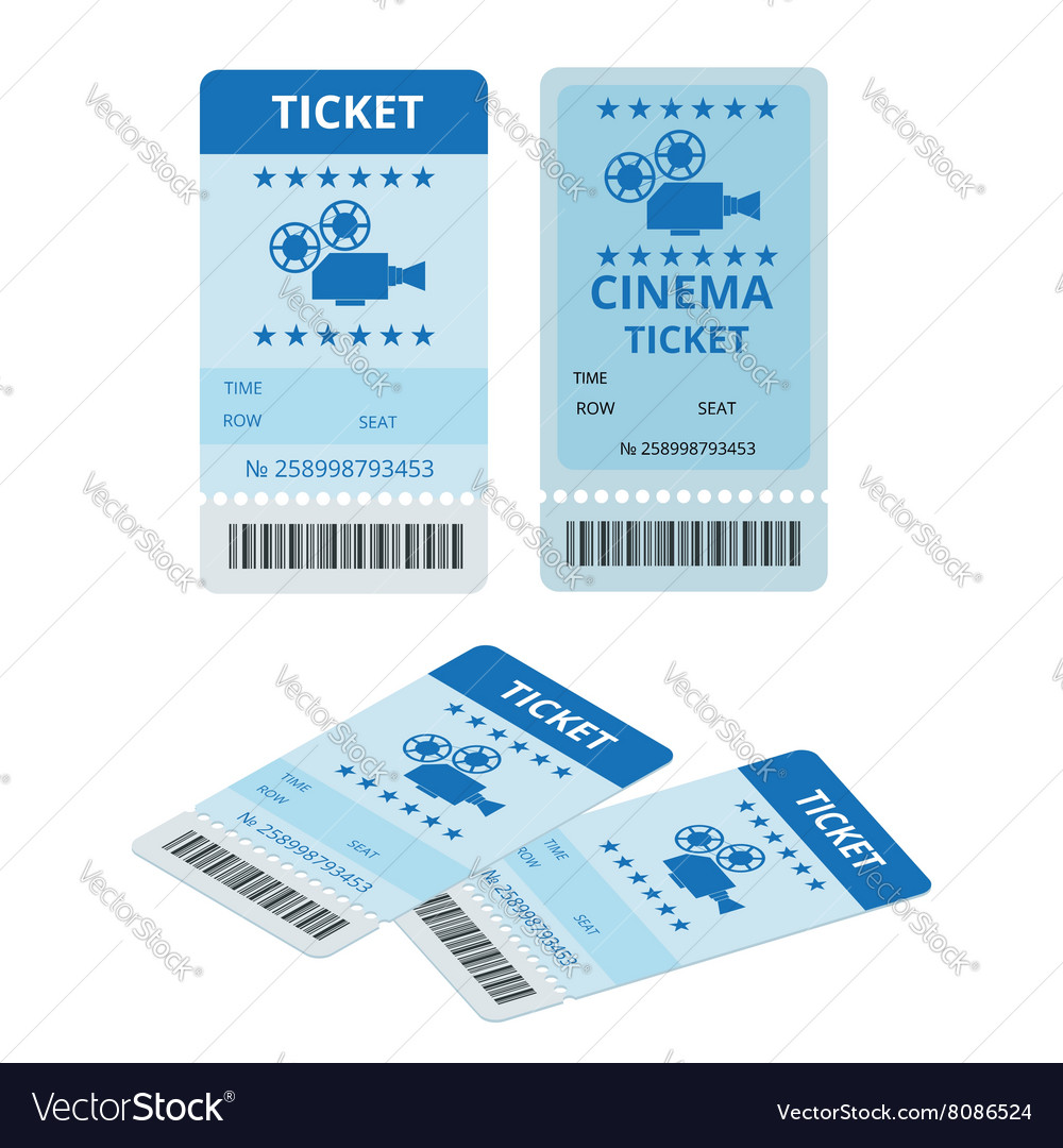 Modern cinema tickets isolated on write vector image