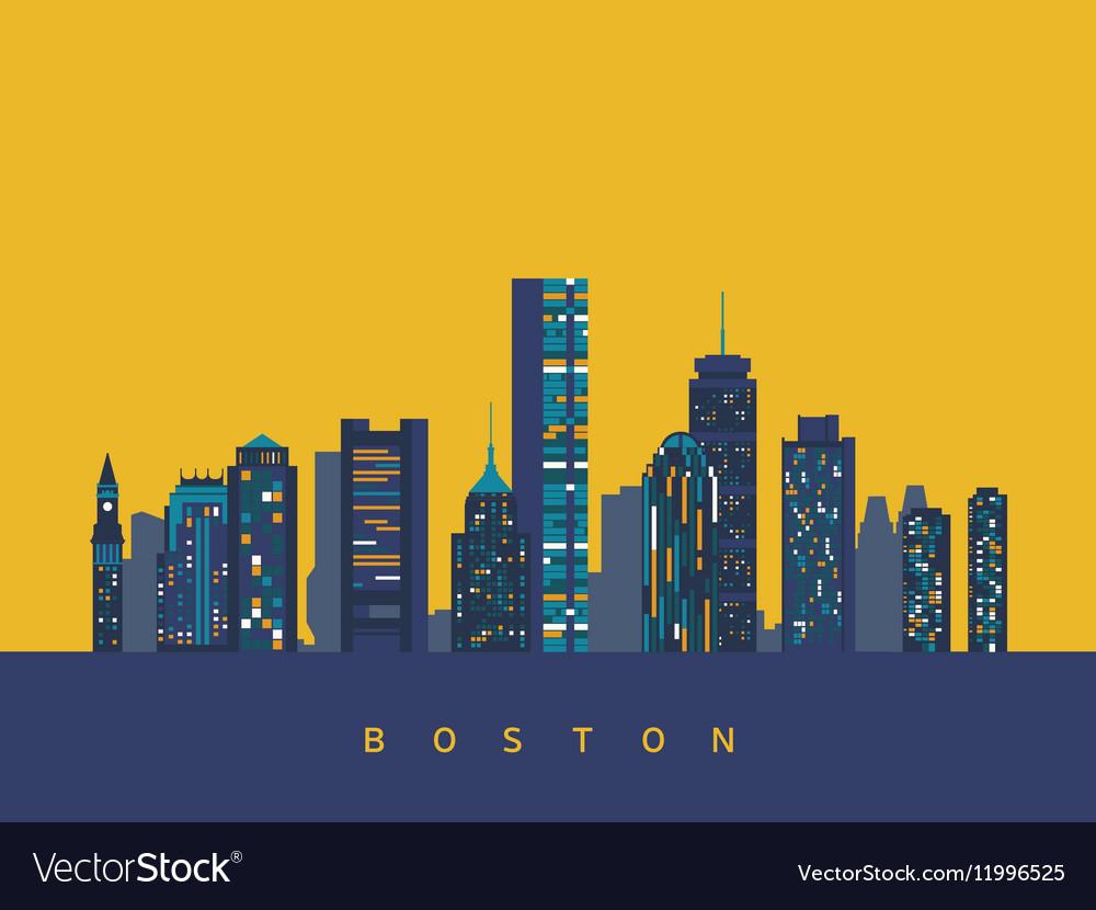 Boston abstract skyline vector image