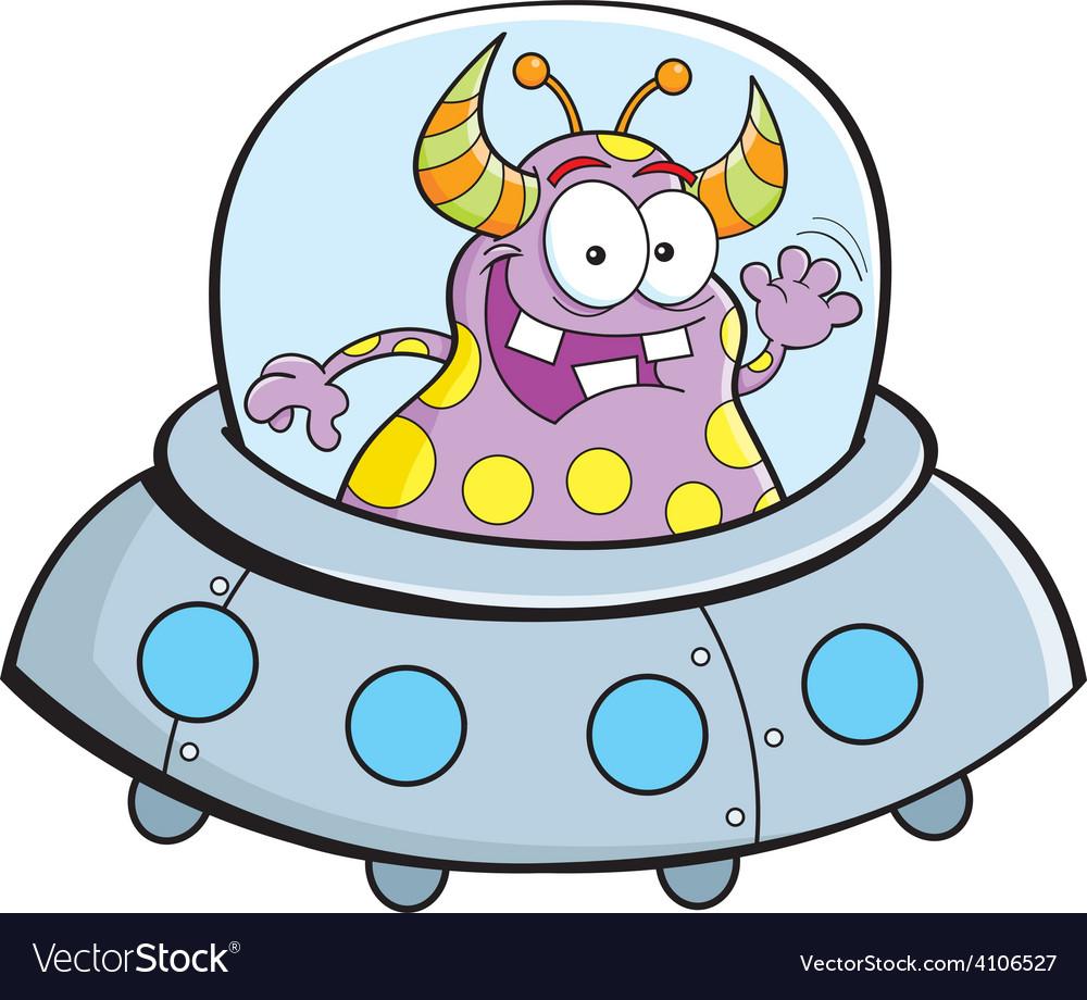 cartoon alien in a spaceship royalty free vector image
