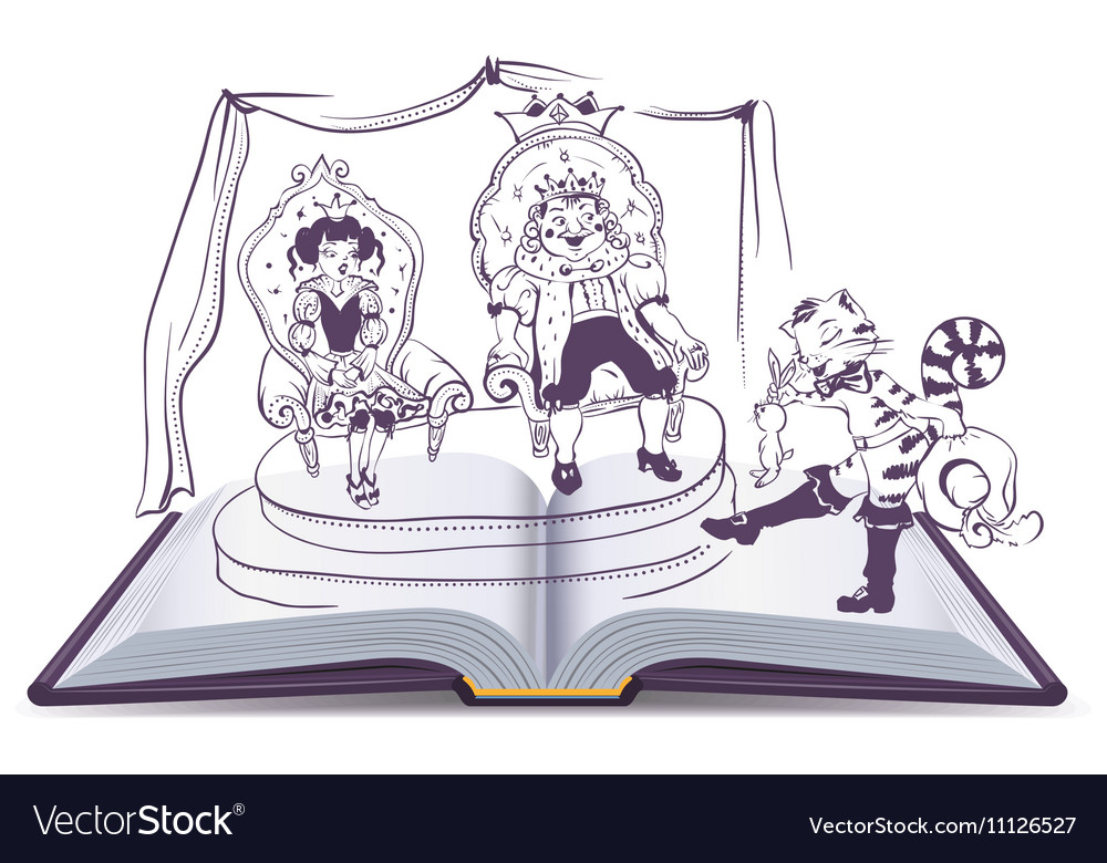 Open book Tale of Puss in Boots vector image