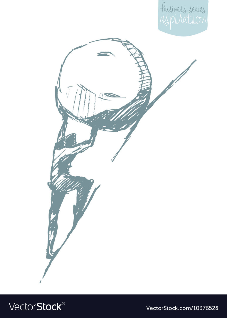 Businessman challenge uphill Sisyphus myth vector image