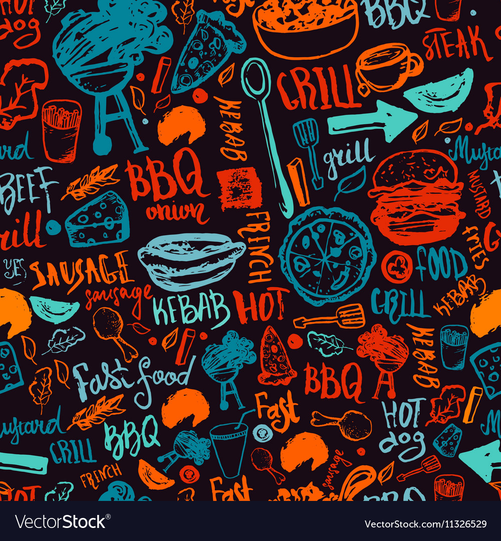 BBQ Barbecue Grill Doodle Seamless Pattern vector image