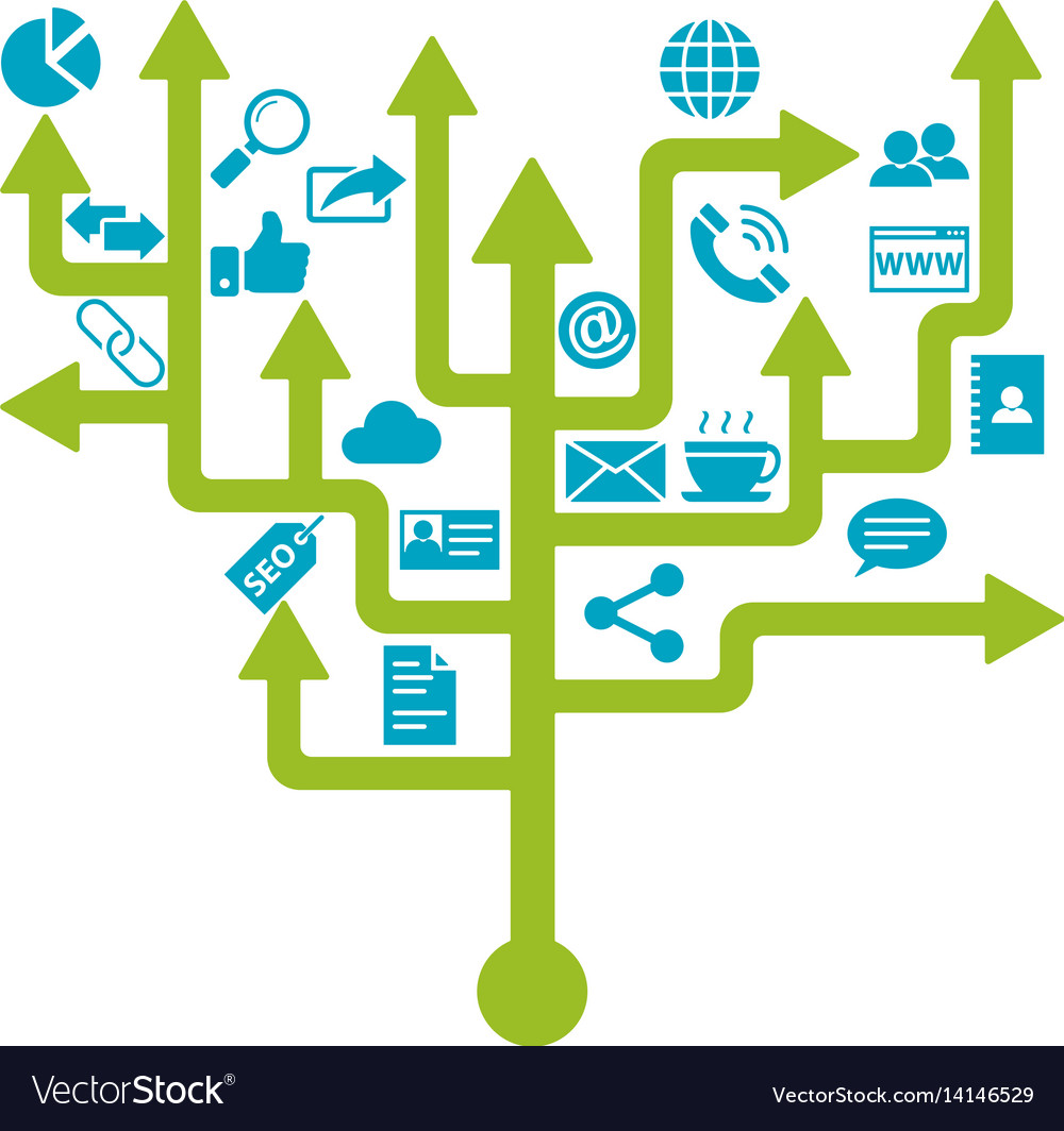 Business networking tree design vector image