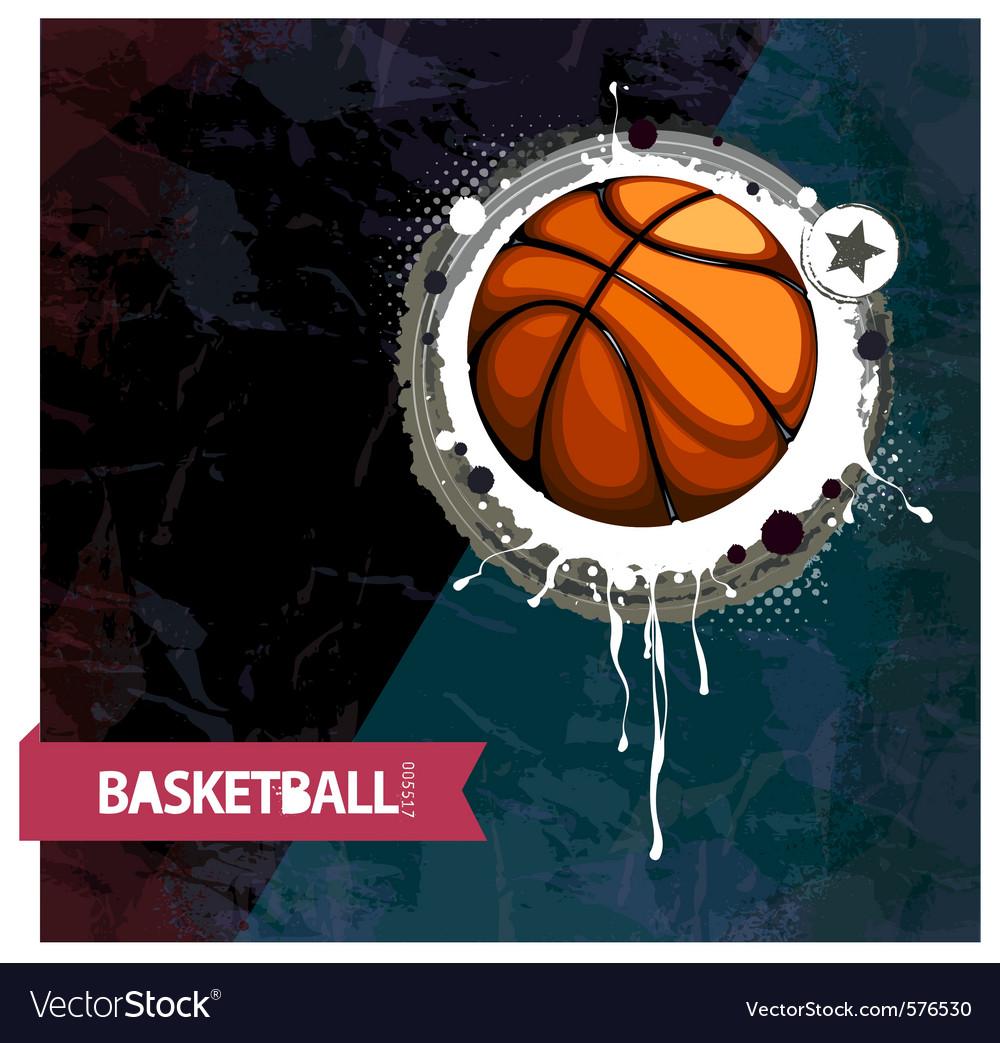 Grunge basketball vector image