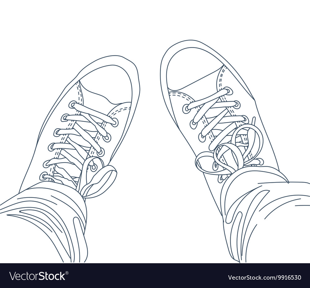 Legs with jeans in gumshoes vector image