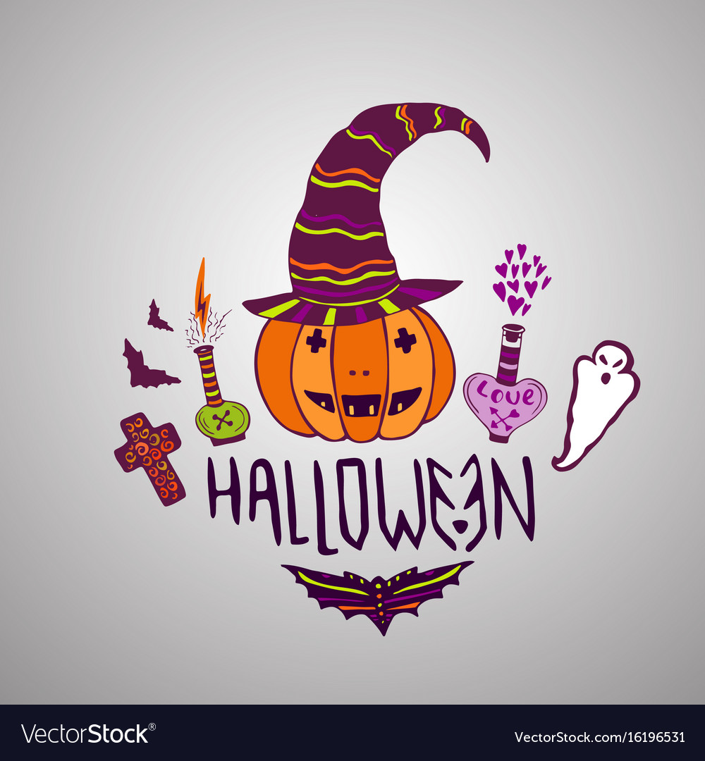 Halloween card hand drawn poster with halloween vector image