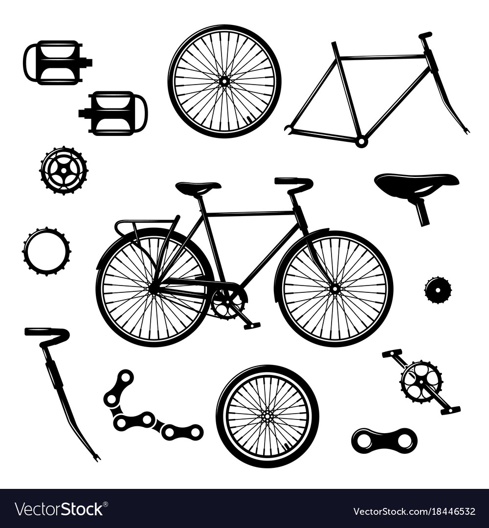 Motorcycle Parts In Delaware Mail: Bike Parts Bicycle Equipment And Components Vector Image