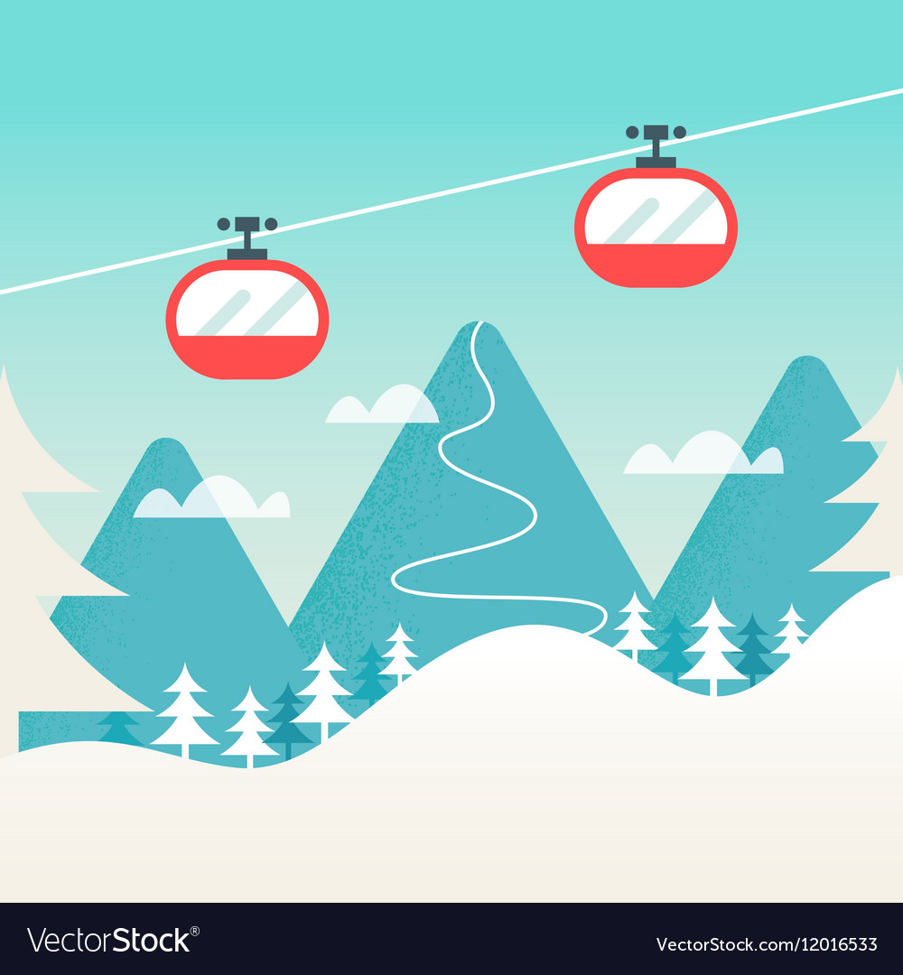 Cable Cars and Snowy Mountain Landscape Ski vector image