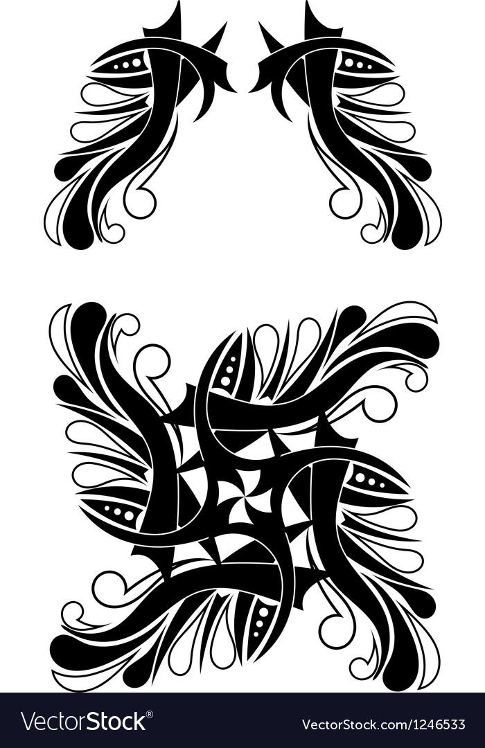Elegant Black-white Tribal Tattoo Design vector image