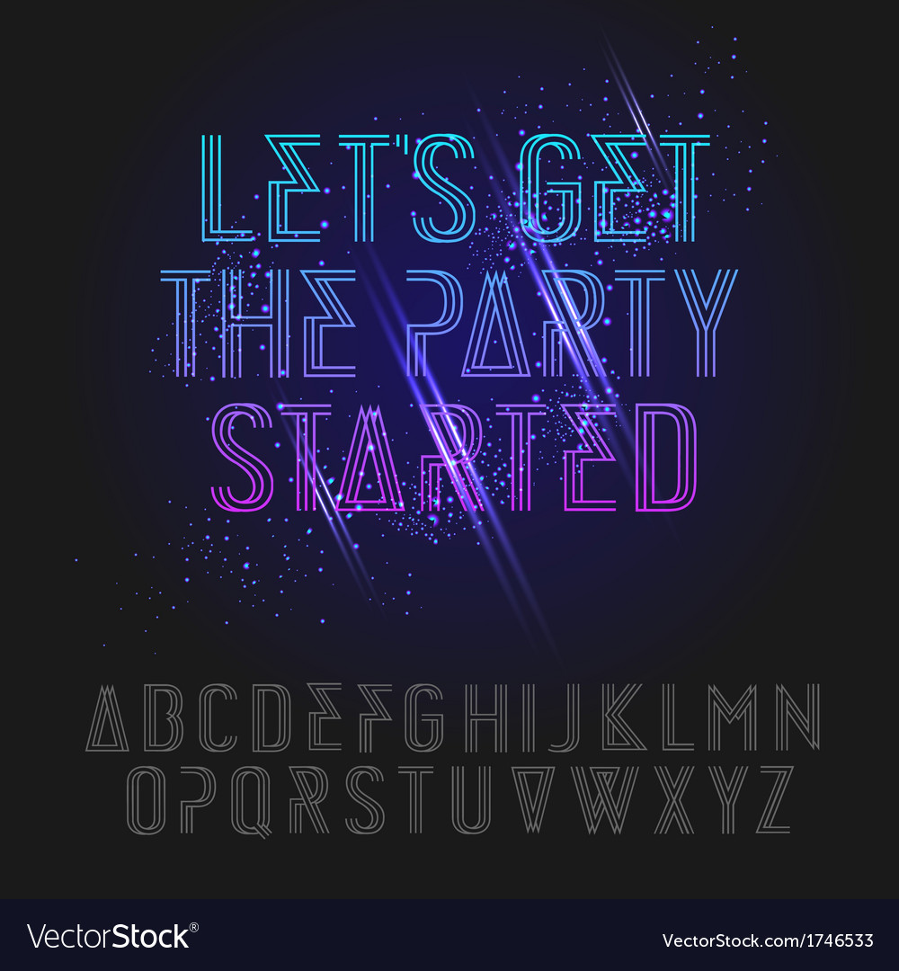 Neon party alphabet vector image
