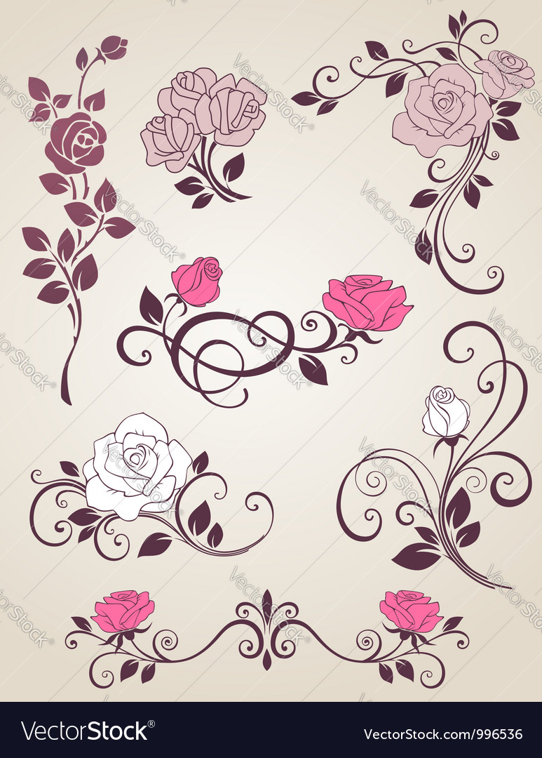 Roses decorative vector image