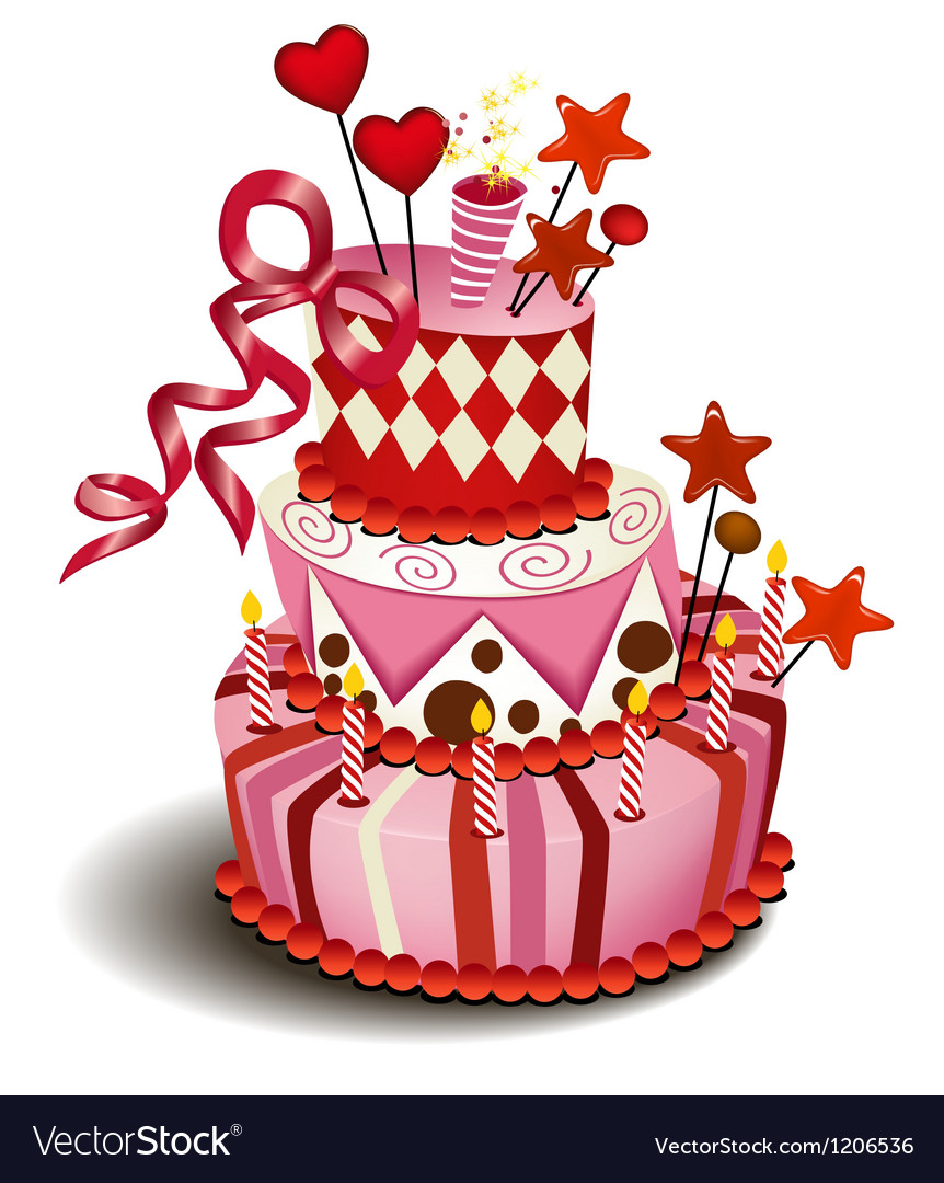 Big pink cake vector image