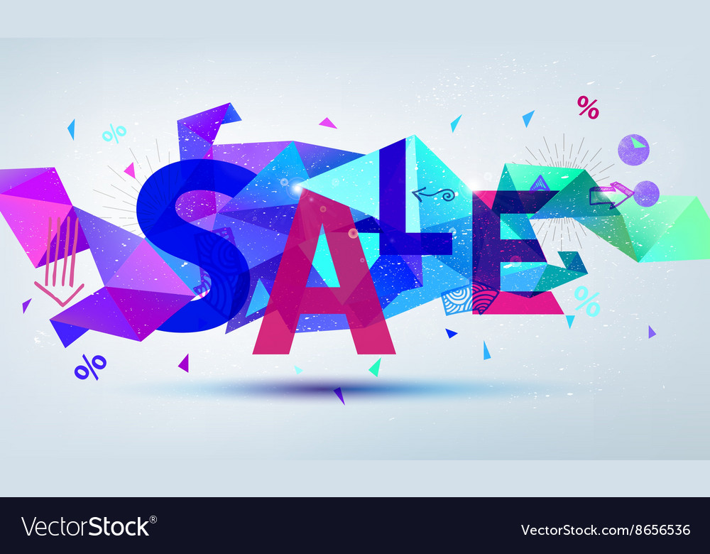 Sale banner Colorful origami faceted vector image