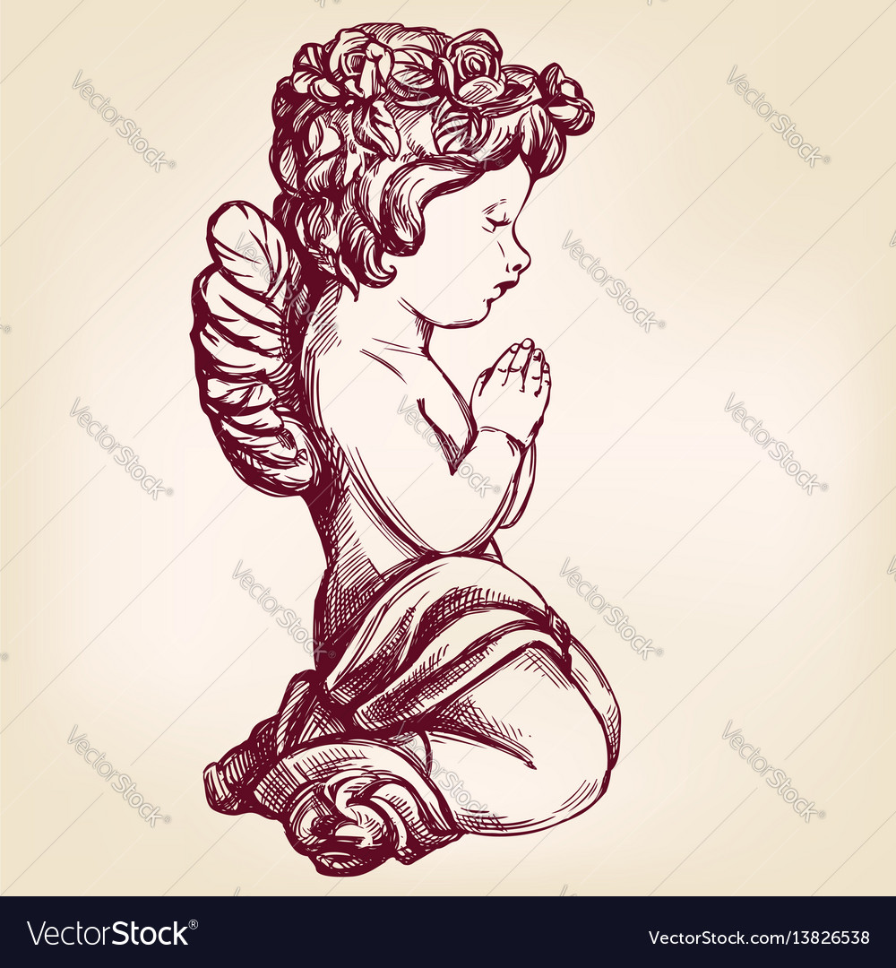 Angel prays on his knees religious symbol of vector image