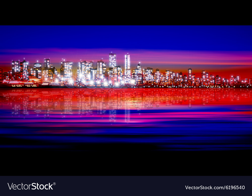 Abstract pink red sunset background with vector image