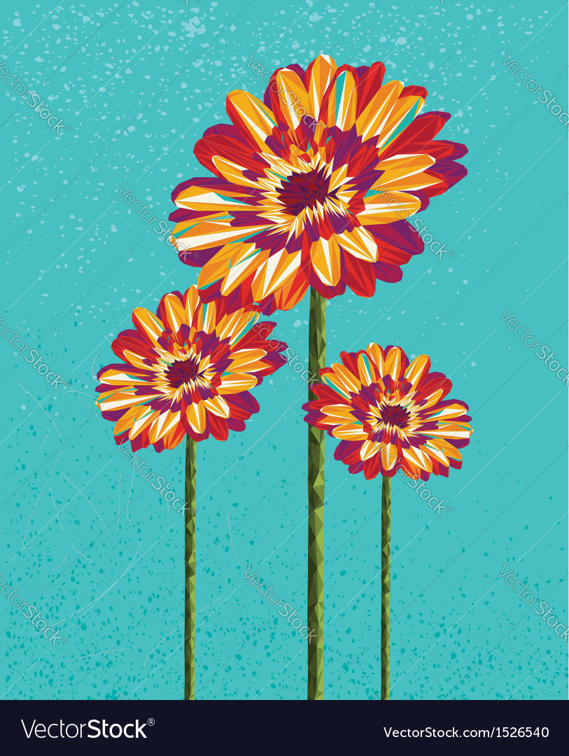 Colorful abstract flowers vector image