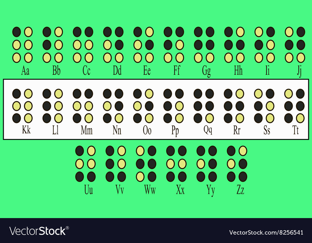 Alphabet for blind people vector image