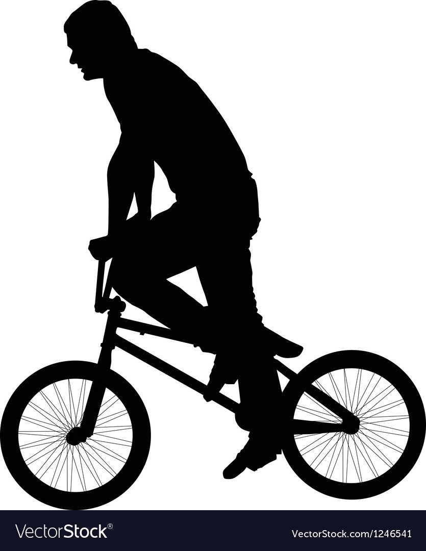 Black silhouette of a young man on a bike vector image