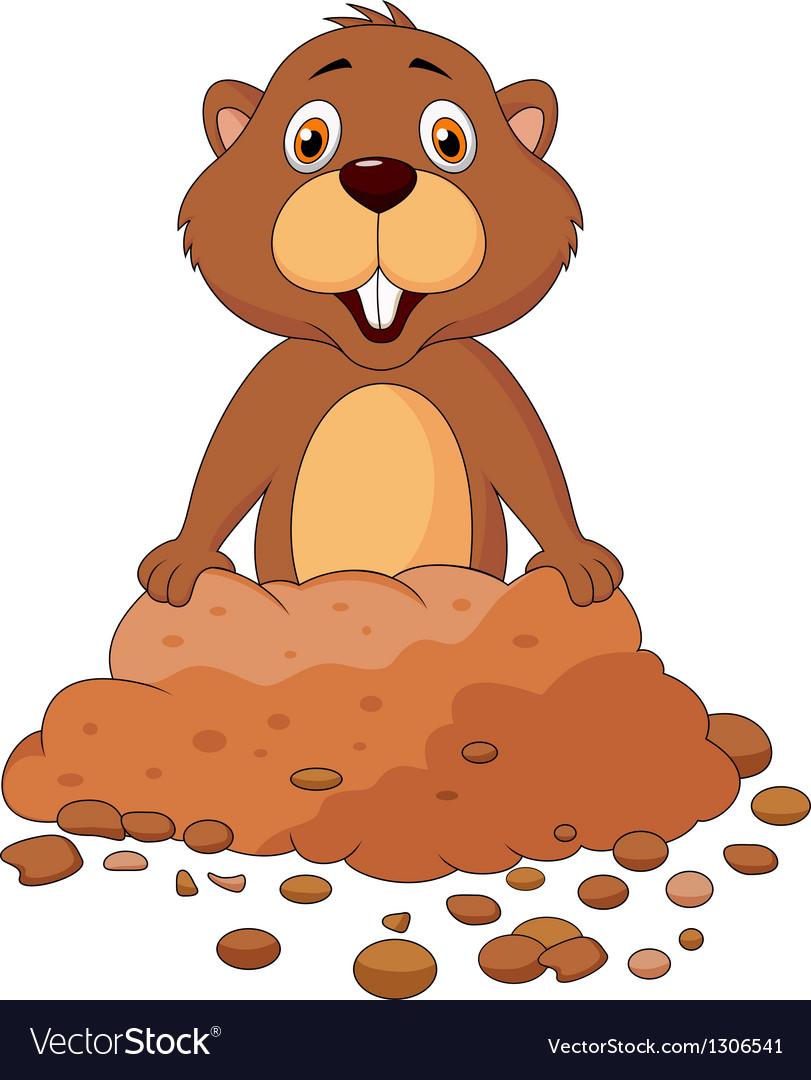 Cute groundhog cartoon vector image