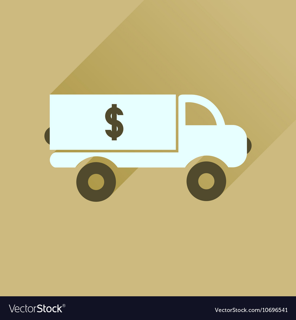 Flat icon with long shadow car transportation