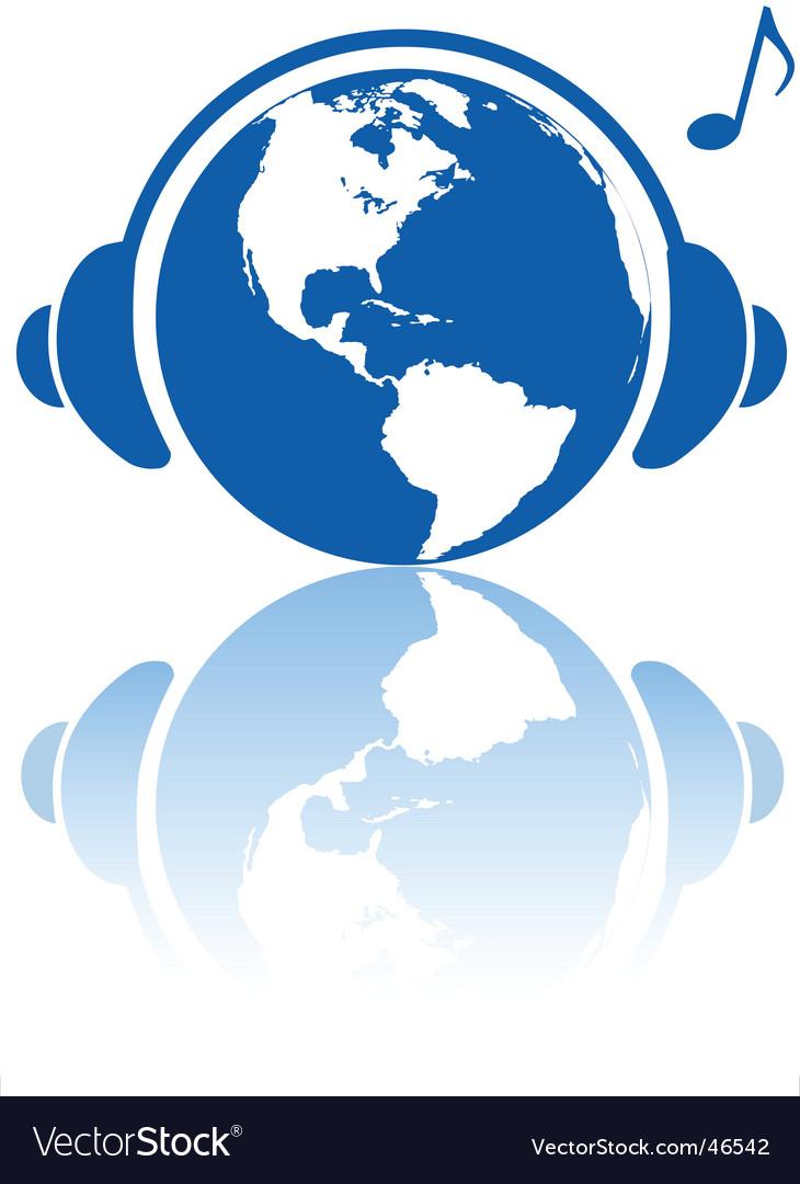 Earth music world headphones vector image