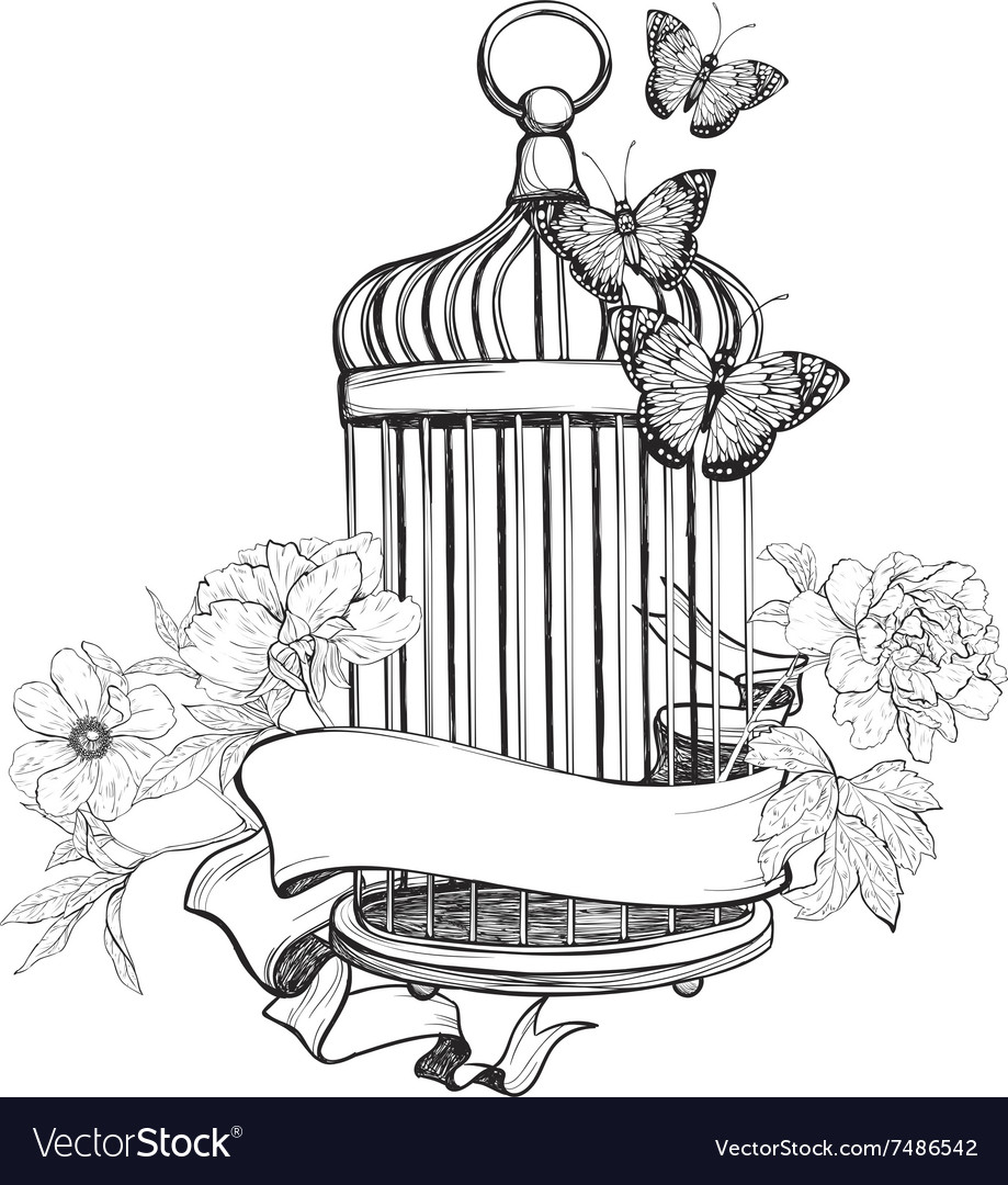 Birdcage wih ribbon flowers and butterfly vector image