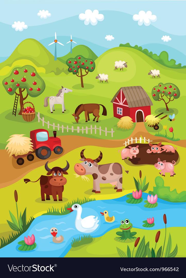 Farm card vector image