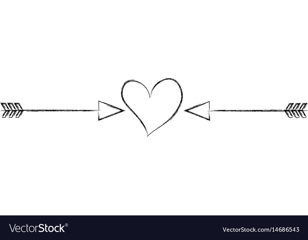 Heart love with arrows romantic icon vector image