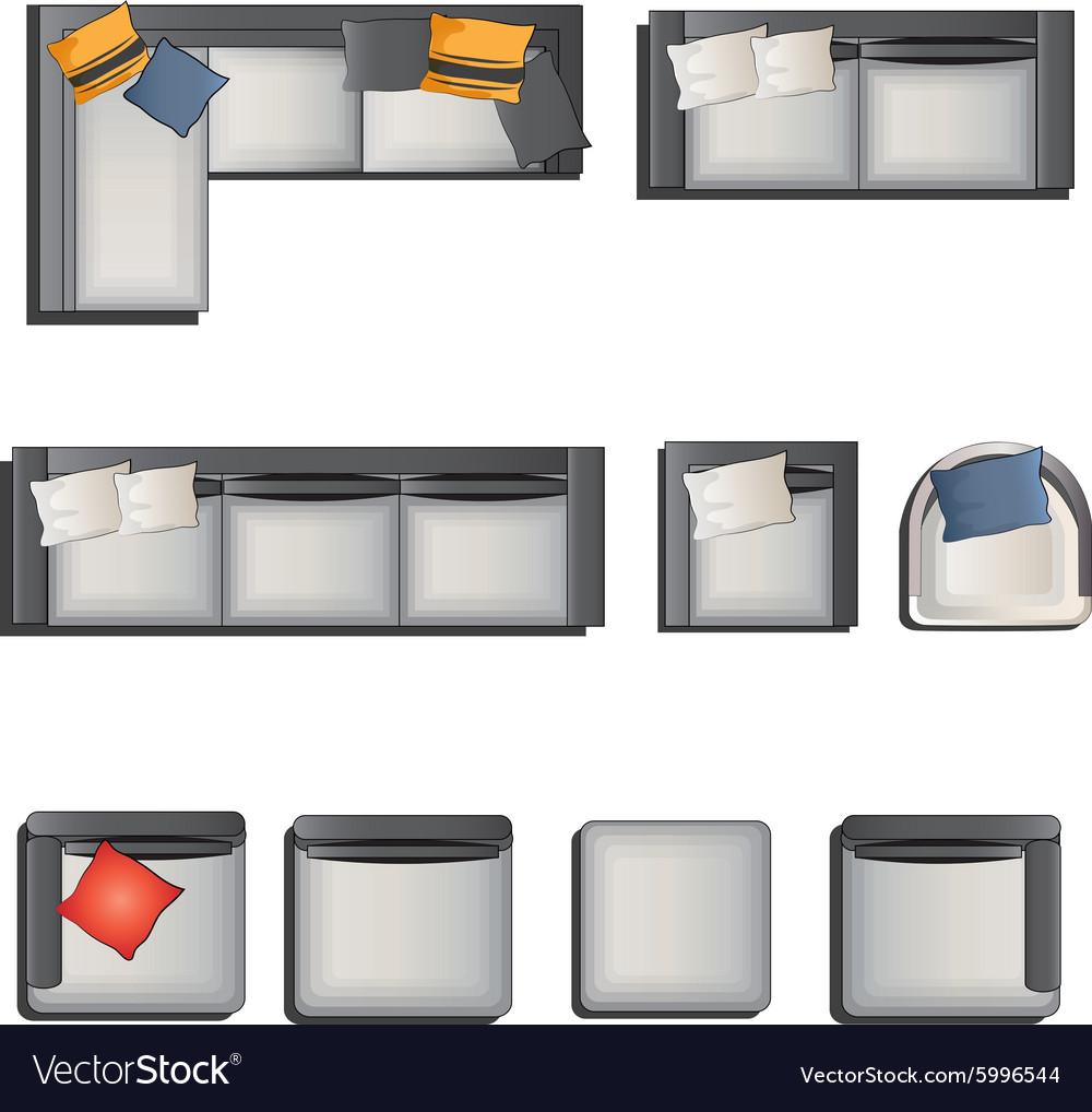 Furniture top view images - Furniture Top View View Set 6 Vector Image