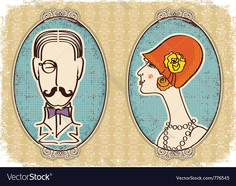Vintage portraits background vector image
