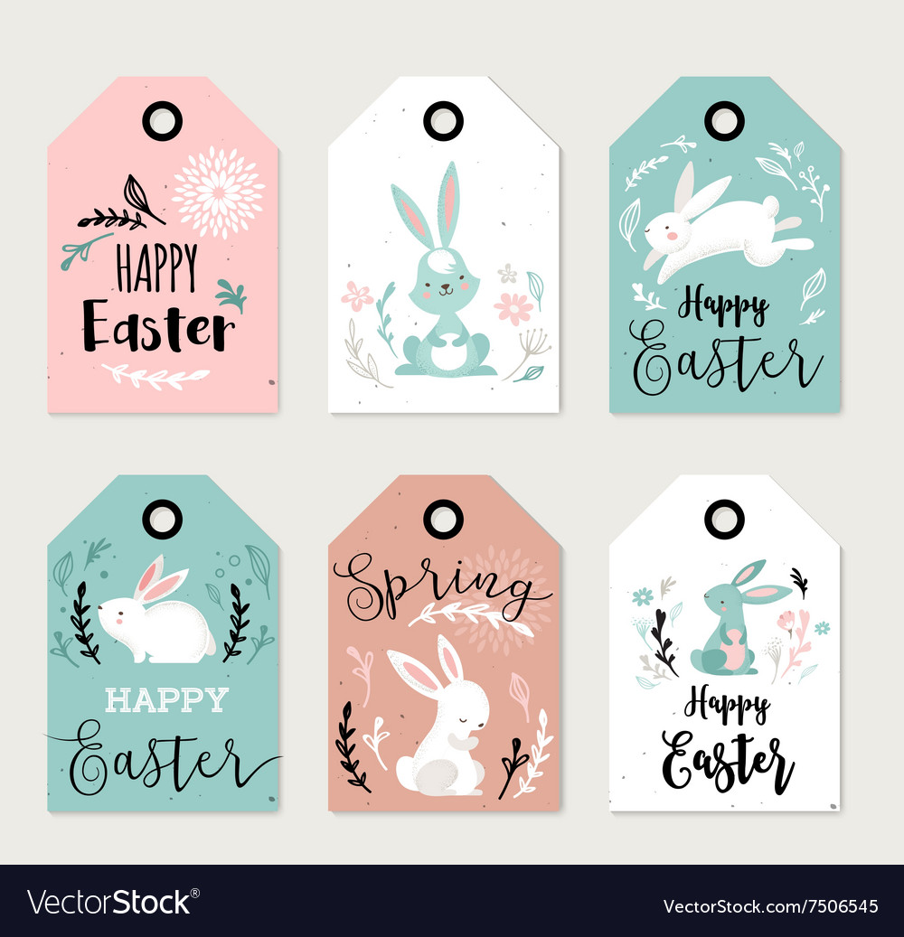 Easter tags labels with cute banny vector image