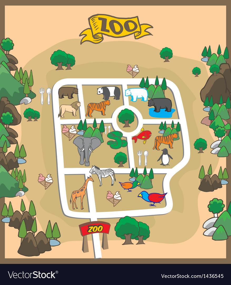 Map of zoo park Royalty Free Vector Image  VectorStock