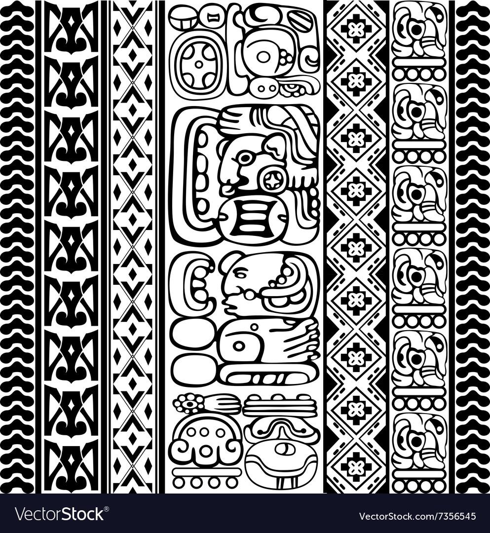Mayan hieroglyphs vector image
