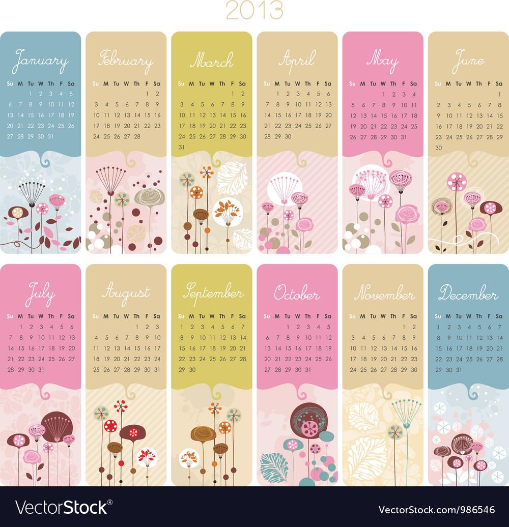 Floral Calendar vector image