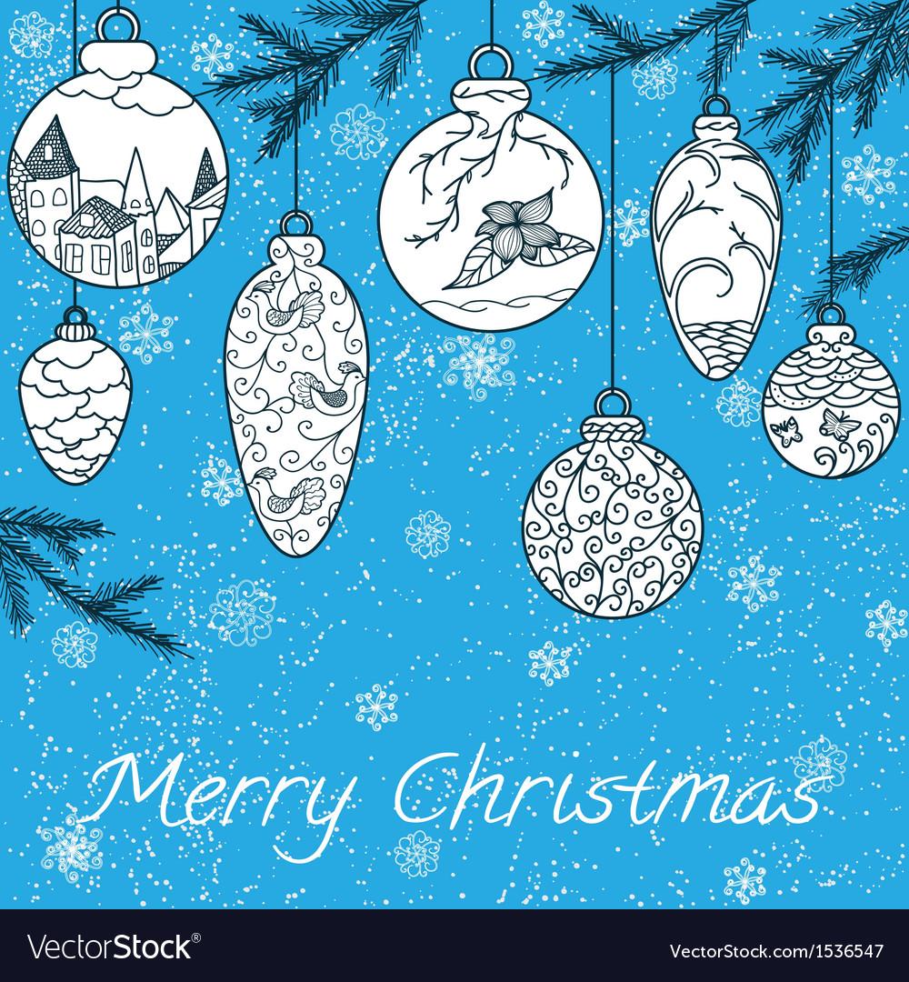 Christmas hand-drawn card vector image