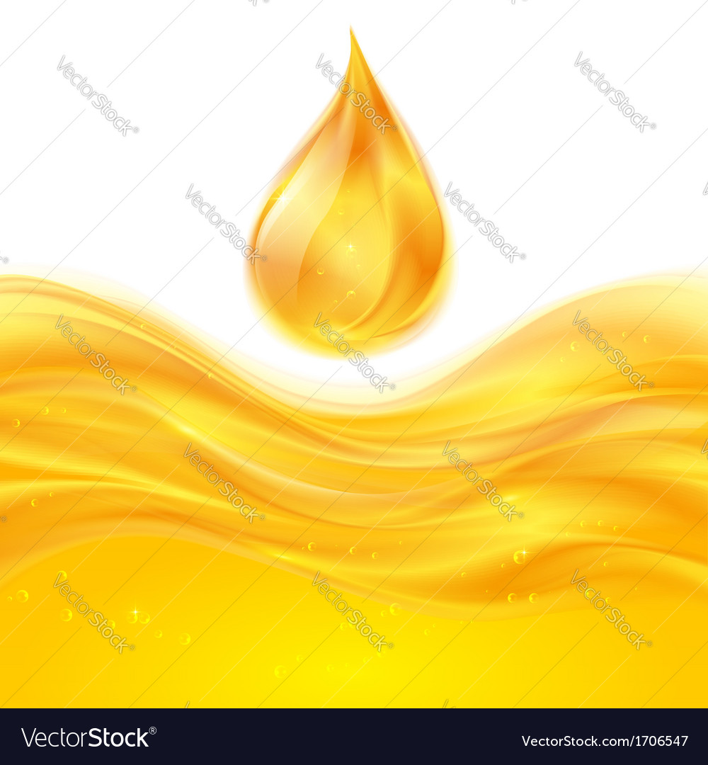 Yellow liquid oil background vector image