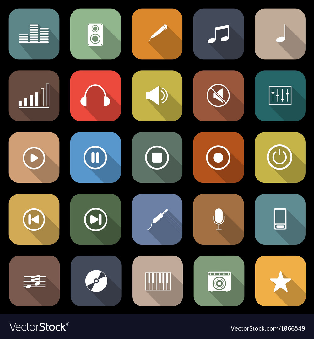 Music flat icons with long shadow vector image