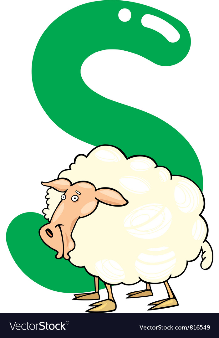 S for sheep vector image