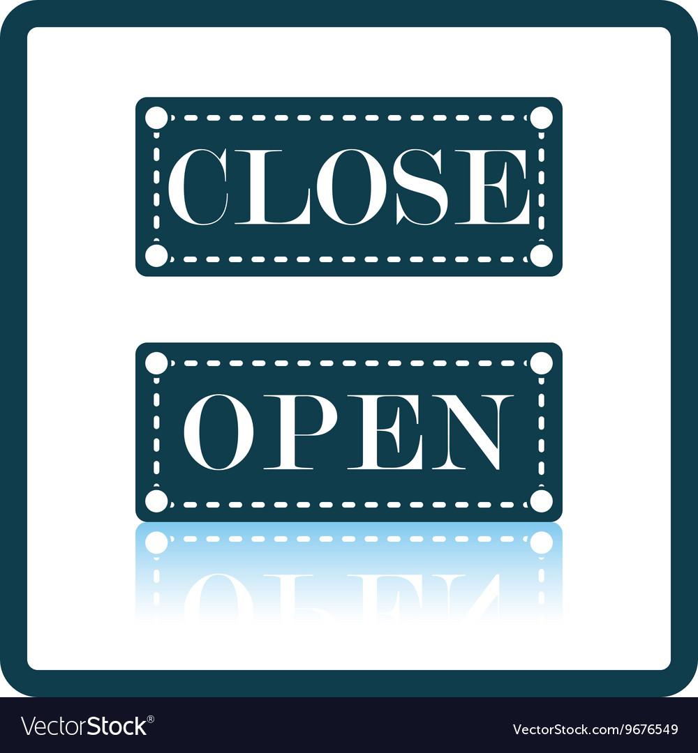 Shop door open and closed icon vector image