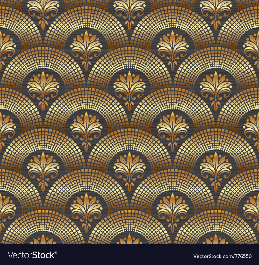 Seamless ornate golden pattern vector image
