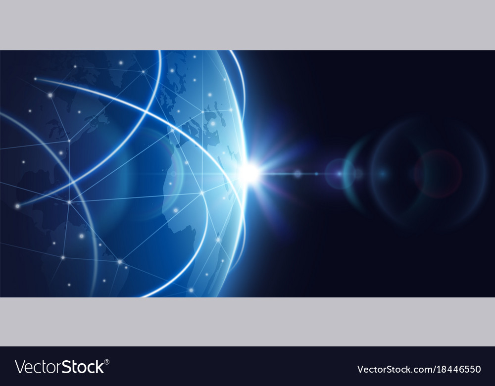Futuristic global internet network background vector image