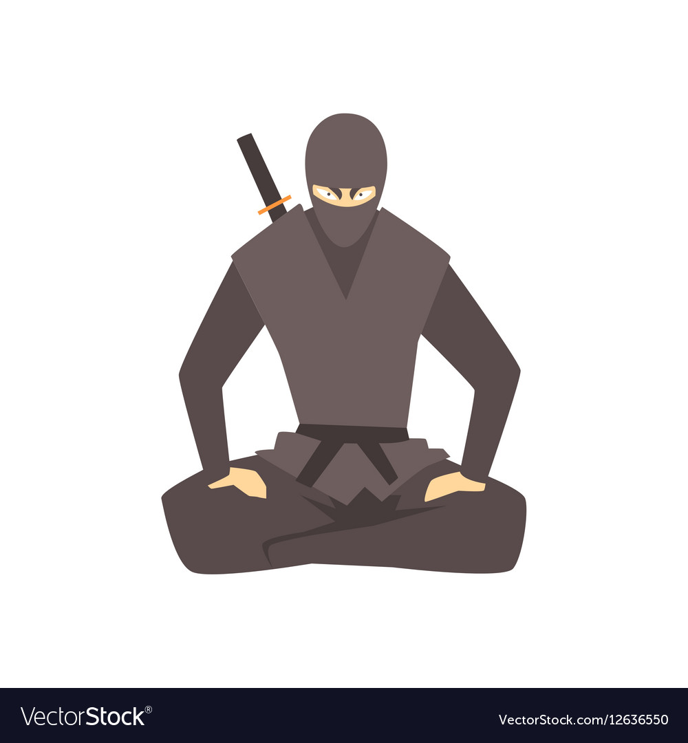 Ninja Wearing Full Black Covering Clothes Martial vector image