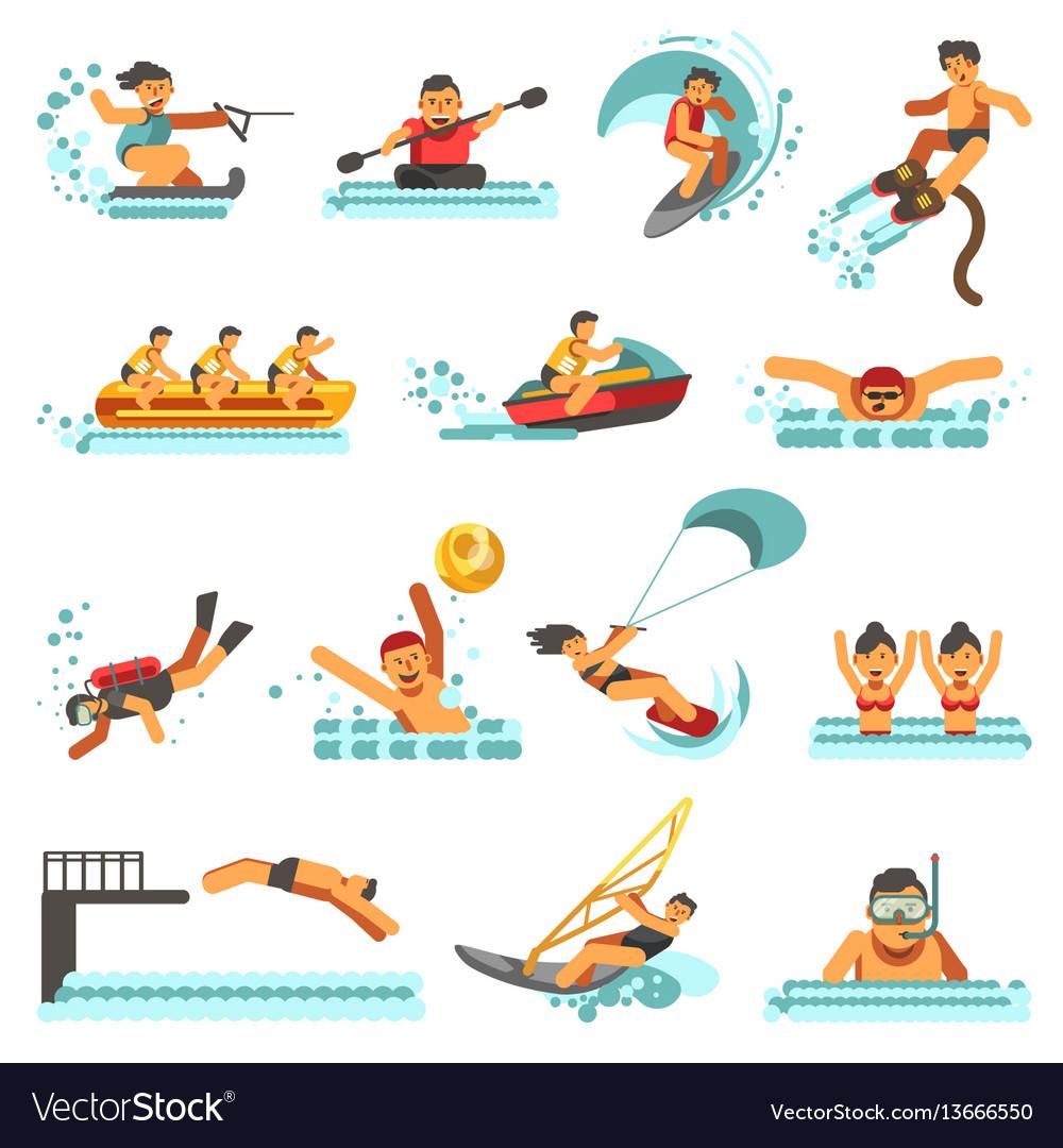 Water sport summer activities flat icons vector image
