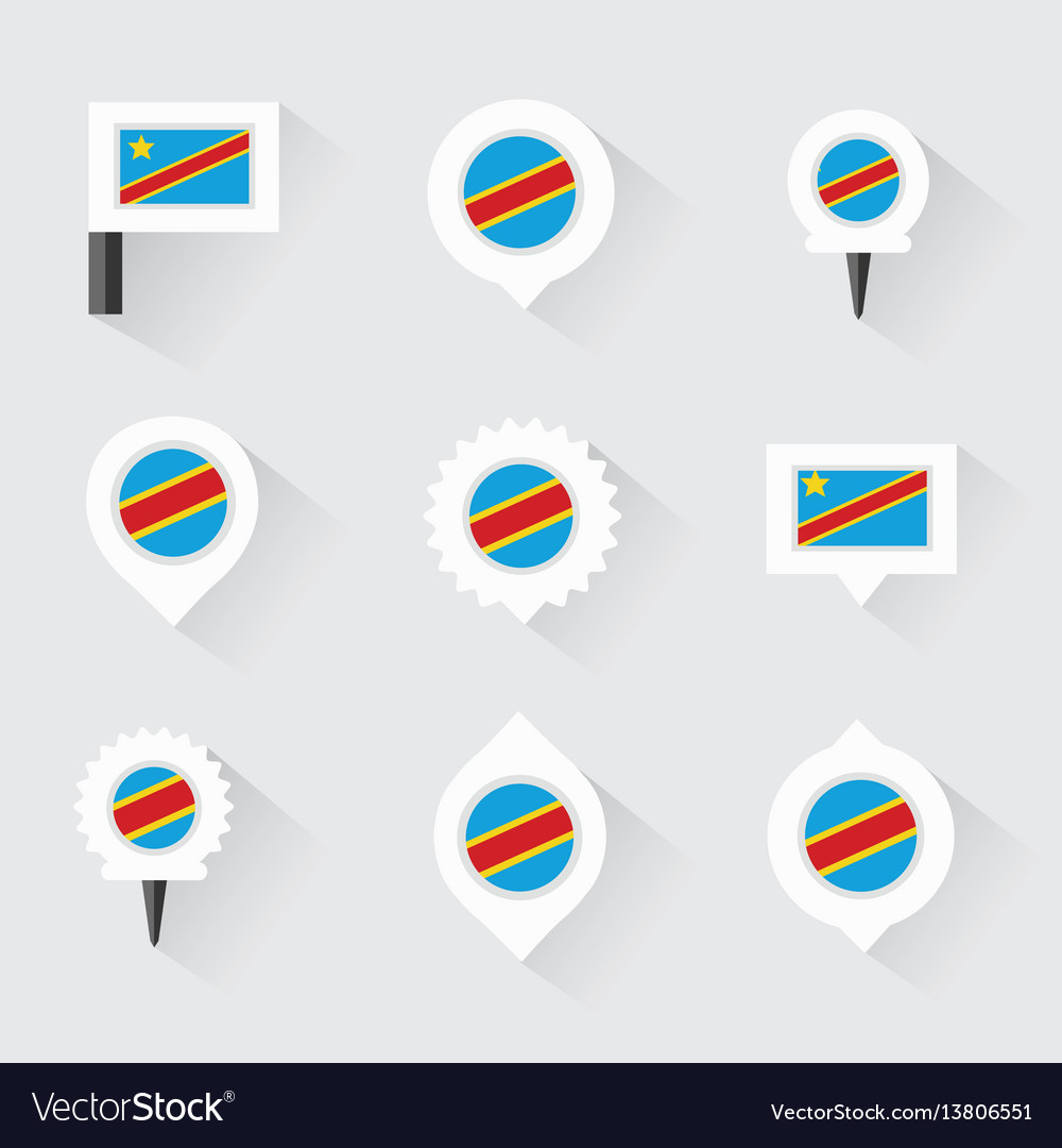 Democratic republic of the congo flag and pins vector image