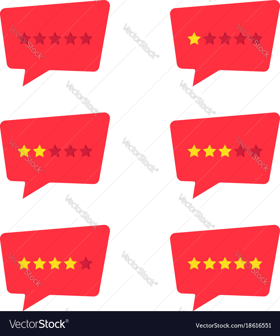 Set of simple red rating stars icon vector image