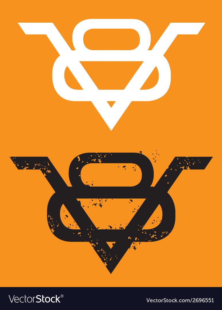 V8 Engine emblem with grunge option vector image
