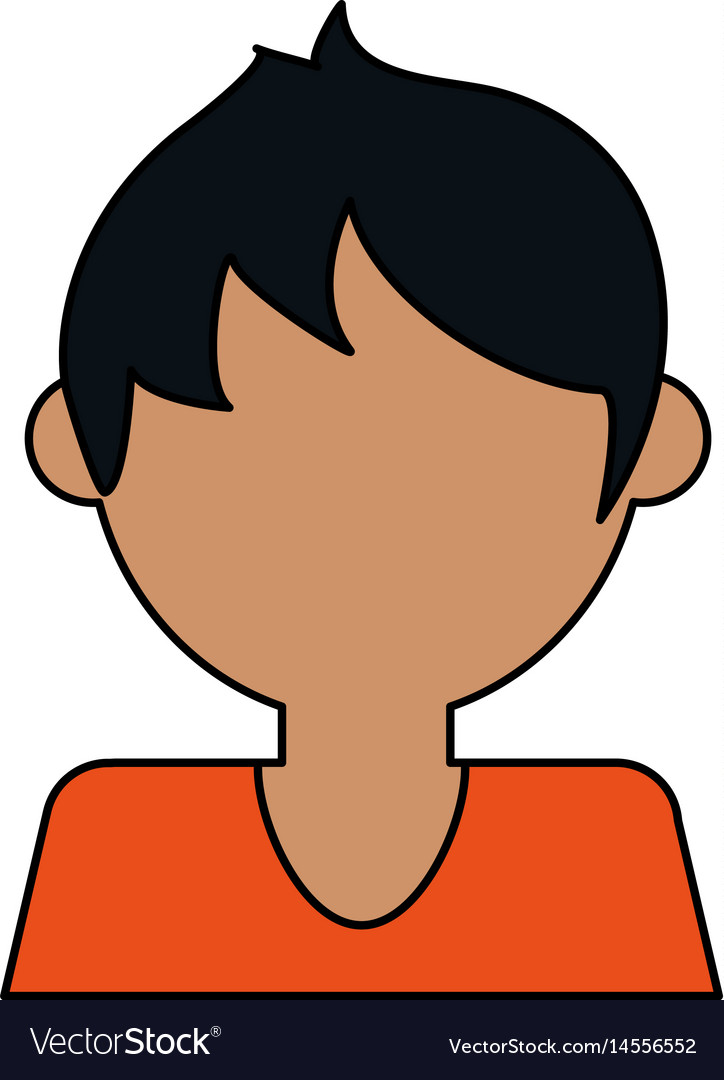 Colorful caricature image faceless half body guy vector image
