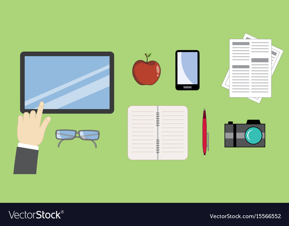 Utensils for the workplace - vektor flat style vector image